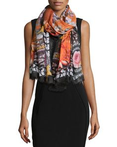Paradise Flowers Cashmere-Silk Scarf, Black/Orange