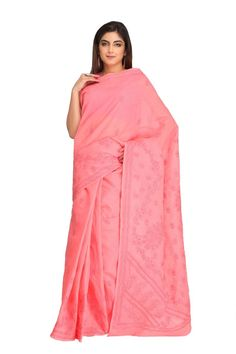 Ada #handembroidered #Peach #Cotton #Lucknowi #Chikan Saree With Blouse - A236144 - #AdaChikan