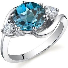 3 Stone Design 2.25 carats London Blue Topaz Ring in Sterling Silver Rhodium Finish