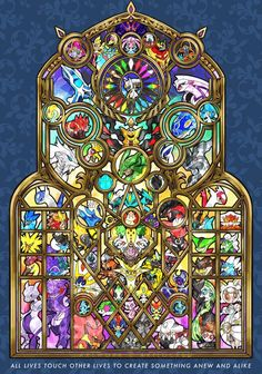 [OC] As my final 2019 Artwork, I designed the largest stained glass piece contai. - [OC] As my final 2019 Artwork, I designed the largest stained glass piece containing all Legendary and Mythical Pokemon to this today! Mega Pokemon, Pokemon Comics, Pokemon Fan Art, Pokemon Cards, Cool Pokemon Wallpapers, Cute Pokemon Wallpaper, Animes Wallpapers, Pokemon Images, Pokemon Pictures