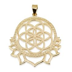 "Seed of Life Sun Flames Pendant 14k Gold Plated Size 1.7"" X 1.5"" Sacred Geometry #MAGAYA #Pendant"