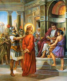 """† I. JESÚS ES CONDENADO A MUERTE. """"Ellos insitían a grandes voces que fuera crucificado"""". Lc 23, 23-24. Por tu condena injusta: perdón, Señor, piedad. Si grandes son mis culpas, mayor es tu bondad."""