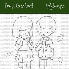 Digital stamp -School set. school boy girl digital stamp. back to school stamp. boy and girlstamp. LiaStampz