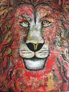 Resurgent fierce abstract Lion acrylic