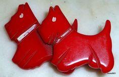 1930s Bakelite Double Cherry Red Scotty Dog Brooch
