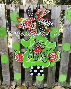 Fun & Funky Christmas Door hanger created from wood, hand painted and finished with a vibrant assortment of seasonal ribbon. Christmas Wood, Christmas Projects, All Things Christmas, Holiday Crafts, White Christmas, Holiday Fun, Christmas Holidays, Painted Christmas Tree, Christmas Door Decorations