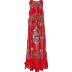 ALEXANDER MCQUEEN Strapless paisley-print silk-chiffon gown ($1,675) ❤ liked on Polyvore featuring dresses, gowns, colorful gowns, red strapless ball gown, strapless gown, red evening dresses and strapless evening gowns