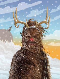 PJ McQuade - Star Wars Christmas Cards Chewie