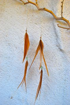 Extra Long Feather Chain and Crystal Bead Earrings  by jessamurph, $35.00