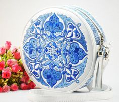 Leather White Embroidered Bag Round Embroidered Crossbody Bag