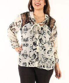 This Black & White Abstract Lace-Yoke Button-Front Top - Plus is perfect! #zulilyfinds