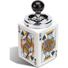 """Poker ash jar with plunging lid visible in every episode on Sherlock's desk (without the lid).  (Including the pilot and """"The Visitor"""") Sometimes you can find the jar for sale on ebay with a matching butane lighter."""