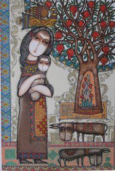 Art by Tsolak Shahinyan Illustrations, Illustration Art, Madona, Pomegranate Art, Armenian Culture, Art Populaire, Madonna And Child, 1 Peter, Naive Art