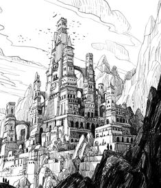 Castle Sketch 2 Fantasy City, Fantasy Castle, Environment Concept Art, Environment Design, Castle Sketch, Castle Drawing, Ink Illustrations, Illustration Art, Cathedral Architecture