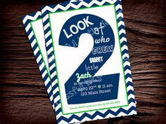 SECOND BIRTHDAY INVITATION Navy and Green by BlissfulBethDesigns