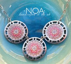 NOA Jewellery stainless steel and decorated walnut three circles necklace. www.noajewellery.com