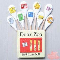 Dear Zoo Activities, Eyfs Activities, Nursery Activities, Classroom Activities, Wooden Spoon Crafts, Wooden Spoons, Dear Zoo Book, Story Sack, Book Baskets
