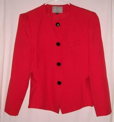 """$18.00 Truly Lovely Bright Red Tailored Blazer with Black Buttons  by La Suit  Fully Lined  Size 12  Fits up to 40""""Bust  25""""Shoulder to Hem  14"""" Under arm to Hem  Very Good Condition  Free Shipping"""