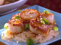 Pan Seared Scallops with Sesame Sauce and Cellophane Noodles recipe from Quick Fix Meals with Robin Miller via Food Network