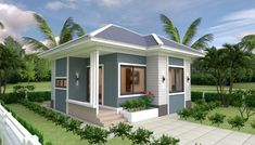 Small House Design Plans with 2 Bedrooms Full Plans - House Plans Sam Small House Layout, Small House Design, House Layouts, Two Bedroom House Design, 2 Bedroom House Plans, Small Luxury Homes, Small Cottage Designs, Double Storey House, Simple House Plans