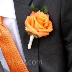 orange rose wedding flower boutonniere, groom boutonniere, groom flowers, add pic source on comment and we will update it. www.myfloweraffair.com can create this beautiful wedding flower look.