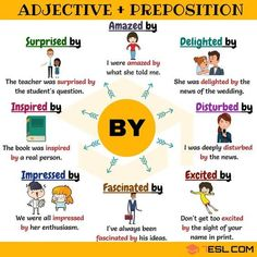 """Some adjectives with the preposition """"BY""""."""