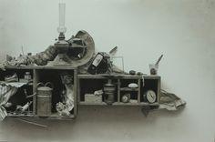 Francisco Roa  Bodegón, 97x146 cm. Carbón  papel encolado a tabla.