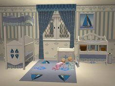 """Mod The Sims - 3 bedrooms collections (recolors): """"Bearcub"""", """"Rose"""" & """"Marin"""""""