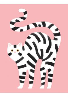 Striped black and white cat Illustration on pink background by Giacomo Bagnara Art And Illustration, Cute Animal Illustration, Animal Illustrations, Fashion Illustrations, Motifs Animal, Art Plastique, Cat Art, Illustrators, Collage