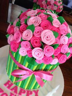 Bunch of Flowers Cake Birthday Cake For Women Elegant, Birthday Cakes For Women, No Bake Chocolate Cake, Sugar Paste Flowers, 70th Birthday Cake, Sugar Craft, Bunch Of Flowers, Celebration Cakes, First Birthdays