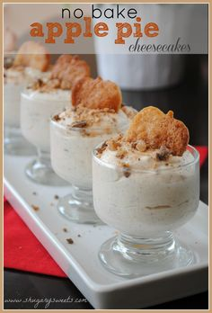 These cute little desserts were whipped up in no time. Cooked apple bits added to the fluffy cream cheese with baked crispy pie crust 'apples' top it off.