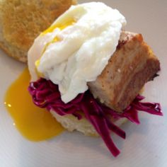 Crispy Getaway pork belly slices on Norberts quick pickled red cabbage, Juillian's ciabatta & poached Coldspring egg.