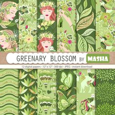 GREENERY BLOSSOM digital papers   12 greenery digital papers with floral girls, elephant and owl, fl #spring #digital #paper #summer #pattern #flower #graphics #planner #illustration #stickers #etsy #shop #supplies #scrapbooking