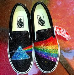 ea0a81ed71 GLITTER RAINBOW pink floyd dark side of the moon prism handpainted black  VANS slip on sneakers unisex any size