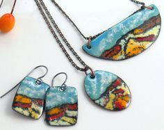 Colección de joyas de colores colorido desierto, cobre esmaltados colgantes y pendientes, Mix & Match, listo para correo, lujo joyería de arte