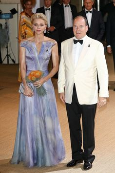 Princess Charlene in a dreamy lilac and blue gown as she joins Prince Albert at the annual Red Cross gala in Monaco