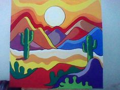 Mexican Paintings, Desert Art, Southwest Art, Cactus Art, Diy Canvas Art, Mexican Art, Dot Painting, Rock Art, Painting Inspiration
