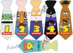 Monthly Baby Ties: Toy Story Buzz Woody Zurg Rex Monthly Baby Ties Digital File DIY Iron On or Stickers INSTANT DOWNLOAD