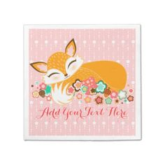 Shop Lil Foxie Cub - Cute Fox Custom Paper Napkins created by creativetaylor. Cute Gift Boxes, Cute Gifts, Fox Pillow, Monogrammed Napkins, Pink Cards, Little Girl Birthday, Cute Fox, Baby Party, Custom Greeting Cards