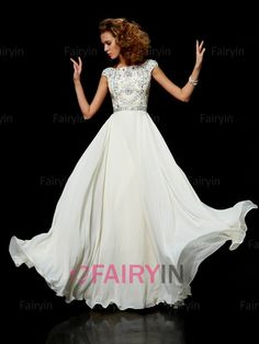 A-line/Princess Escote Alto Sin Mangas Gasa Floor-length Abalorio Dress