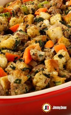 Everyone should have a unique take on a stuffing recipe for the holidays. Take inspiration from this Sage Sausage Stuffing Recipe filled with Premium Jimmy Dean Sage Pork Sausage, fresh veggies and herbs. You might even end up with a new signature dish. Pro tip: Remove foil for the last 15 minutes if you prefer crispier stuffing.