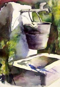 by Gudrun Roehm Watercolor Pictures, Watercolor Artists, Watercolor Techniques, Watercolor Landscape, Watercolor And Ink, Landscape Art, Landscape Paintings, Watercolor Paintings, Watercolors