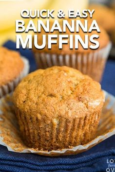 These easy and delicious Banana Bread Muffins are perfect for breakfast or for an afternoon snack. Flavorful, moist and delicious, this is the best banana bread muffin recipe we've tried. Banana Bread Recipes, Muffin Recipes, Banana Bread Cupcakes, Moist Banana Bread, Blueberry Bread, Apple Bread, Bread Cake, Brunch Recipes, Easy Recipes