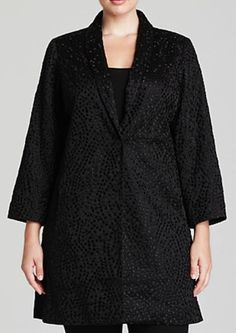 Eileen Fisher Plus Size Black Embroidered Silk Jacket - You Really Need To See This One Up Close!  The Embroidered Fabric Is Just GORGEOUS!