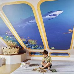 Under the Sea. Great idea for an attic playroom. (A space station theme would work too!) Super cool for a he baby!