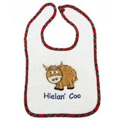 Terry cloth Highland Cow bib . . Sold by TartanPlusTweed.com A family owned kilt and gift shop in the Scottish Borders