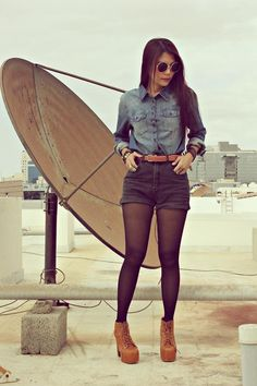 love shorts with tights- love the look Hipster Outfits, Mode Outfits, Short Outfits, Fall Outfits, Summer Outfits, Fashion Outfits, Fall Tights, Black Tights, Shorts With Tights