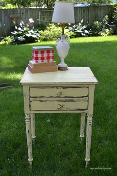 Yellow Distressed Side Table
