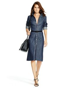 Denim Button-Down Shirtdress - Short Dresses  Dresses - RalphLauren.com
