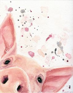 Pig Art Pig Canvas Gift For Her Farmhouse Decor Pig #dannybstudios
